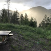 Secluded mountain tent camping