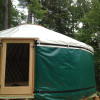 Locally crafted yurt in forest