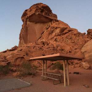 Motorhome in arch rock campground, Valley of Fire State