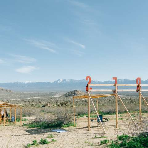 A bar and a tent in the desert