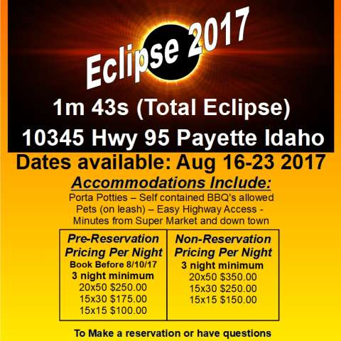Eclipse Camping Payette Idaho