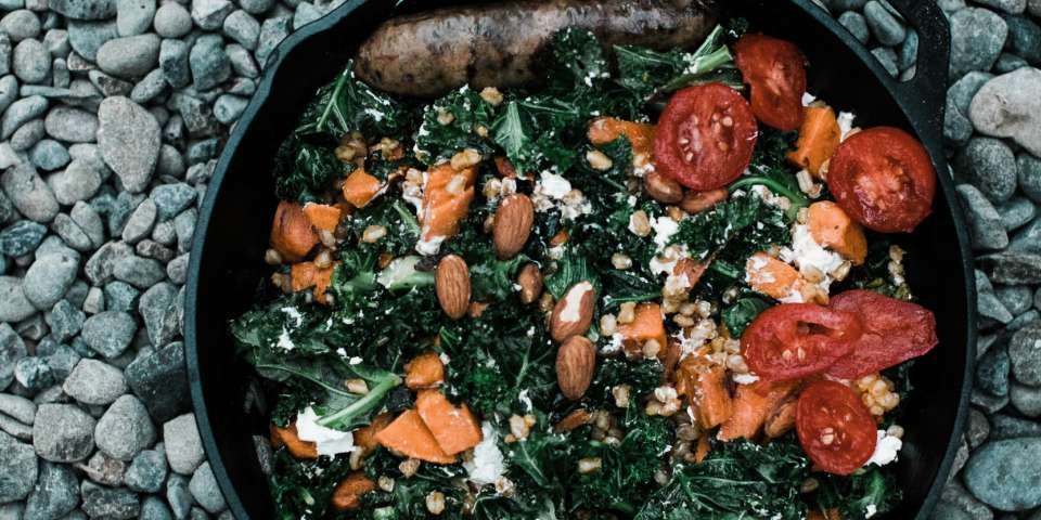 Farro, Sweet Potato, Kale and Sausage Cast Iron Recipe