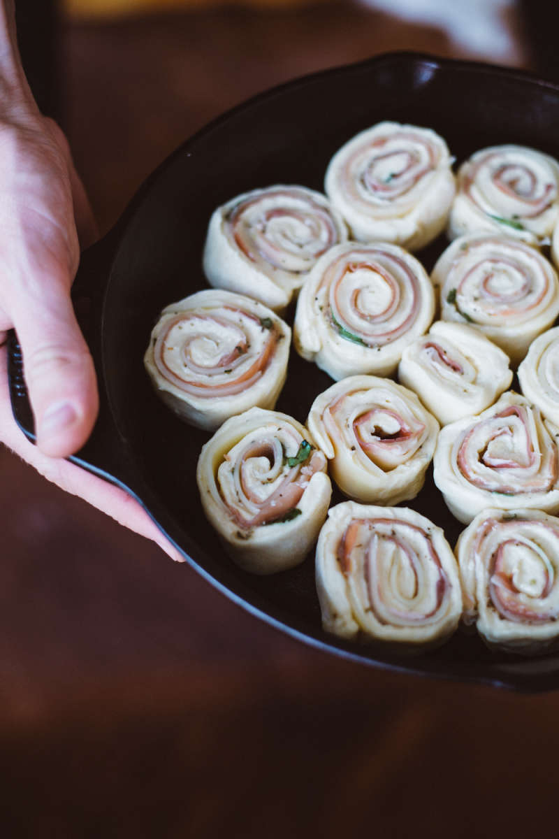 Prosciutto Gruyere and Honey Pinwheels
