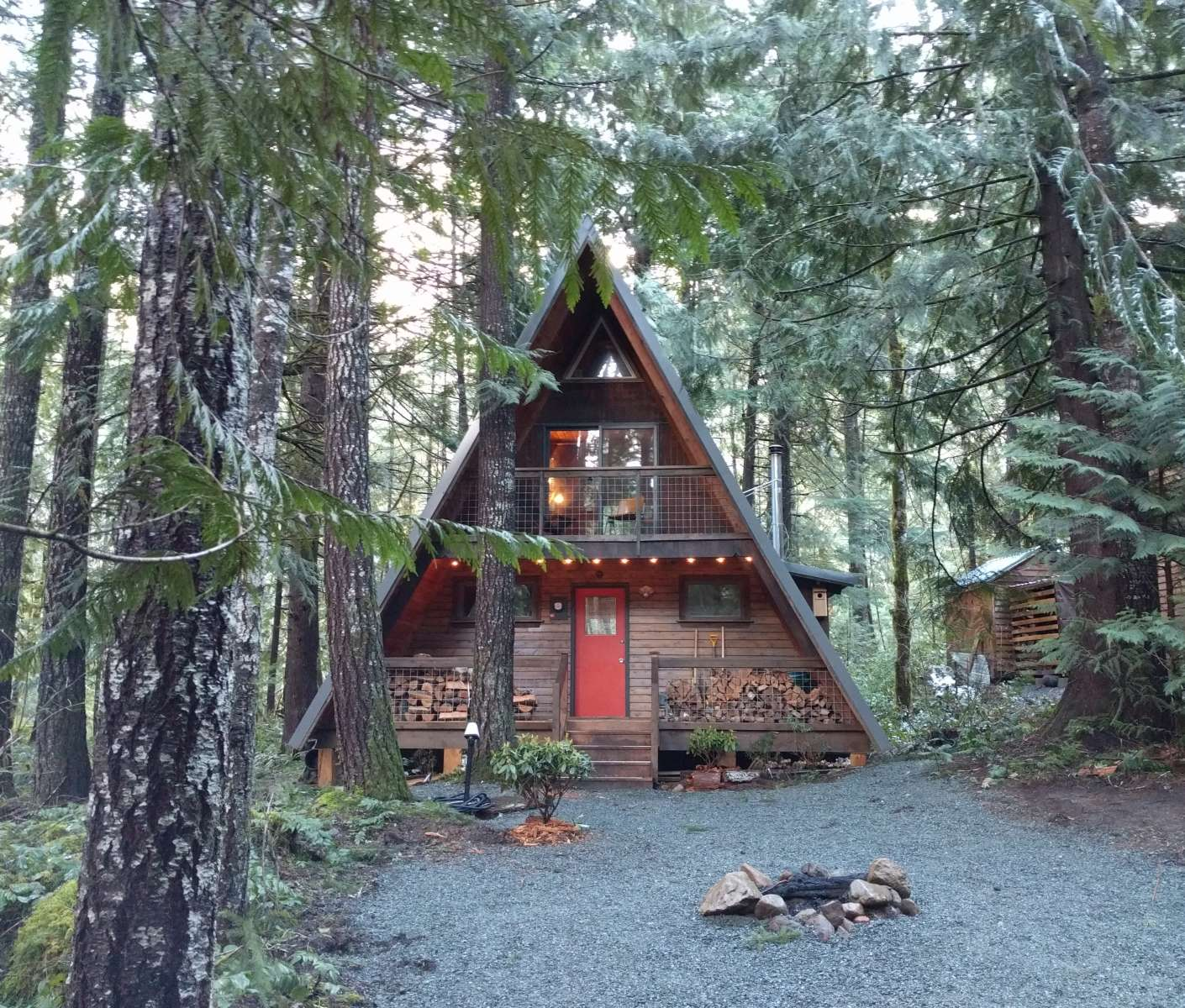 lake outhouse cabins furnish camping manzanita cabin and magazine mt reservations night fire solar ring stove hood in lighting required travel the sunset best an wood cooktop sky are propane a outside