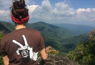 From the top of Chimney Tops, a nearby hike in the park!