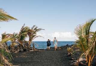 Lava sand beach