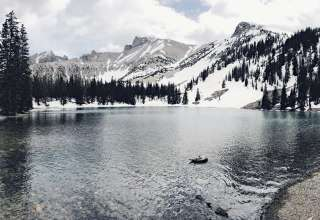 Hiking over snow to Stella Lake.