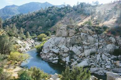 Sandy Flat Campground is located right along the Kern River. There is a beach with a great swimming area (you can see it on the lower left of the photo).