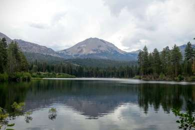Out on Manzanita Lake looking back at the camp site with Mt Lassen in the background.