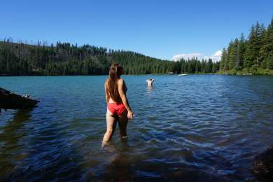 This is a great lake to go swimming, Scout Lake is just a mile up the road past Suttle Lake and that place is also good for swimming and beats the crowd!