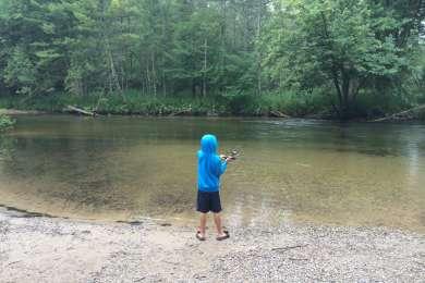 Fishing at the boat landing.