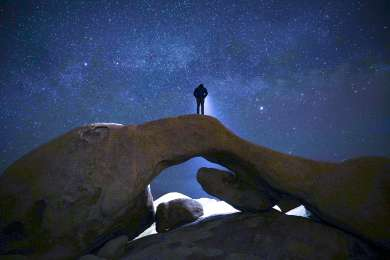Exploring the arch under the Milky Way.  Moonless nights are the best.