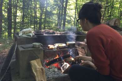 Breakfast on the fire.