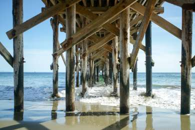 Under the unstable pier, it's closed to public currently.