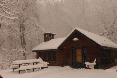 A cozy cabin, fireplace included, by a babbling brook in the silence of winter!