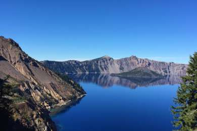 The calm after the storm brought about a bright blue sky day with mirror like conditions on the lake. The weather system during our time at Crater Lake allowed us to experience both ends of the spectrum from choppy lake to still water.