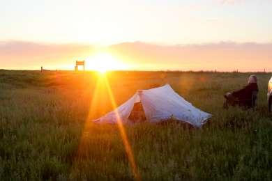 There's no campground per se here, just a prairie for as far as you can see.  We set up our tent near Four Coyotes Dam -- you'll definitely need to download a road map for inside the grasslands, 'cuz there's no informational kiosk.
