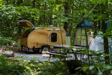 Sweet camp set-up in the woods.