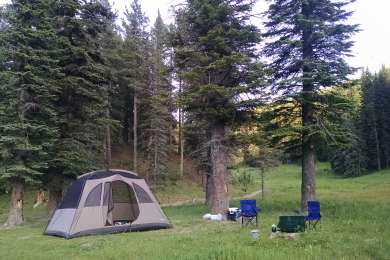 This is our setup, we camped along the creek.