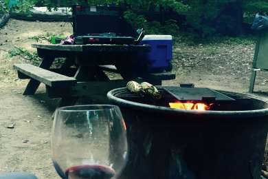 Nice size fire pits and large picnic tables. The wine was our own addition.