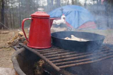 Fire ring and grill on every campsite.