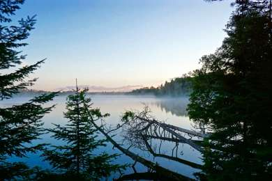 The view from our campsite at the canoe/hike in location. I was able to grab the fog rolling across the lake early in the morning.