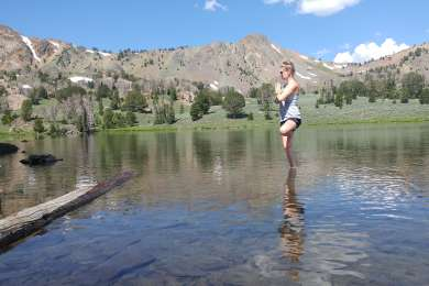 Tree pose in Fishpole lake. We were the only campers there!
