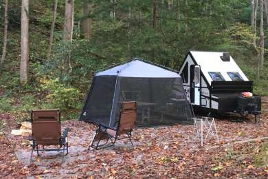 Beautiful campsite next to a mountain.