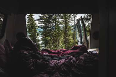 View out the back of our camper van in our campsite.