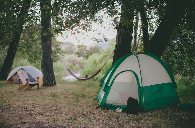 Campsite by the creek.