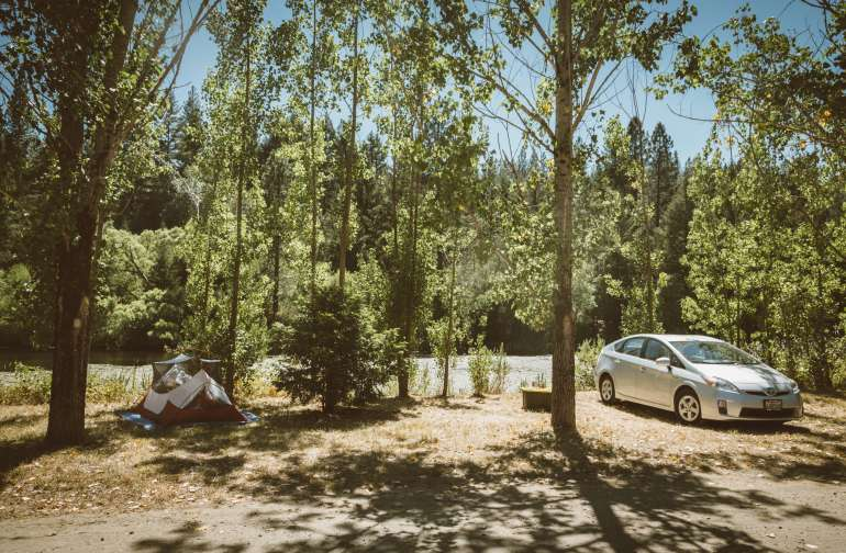 Car camping with easy access to the lanai common area.