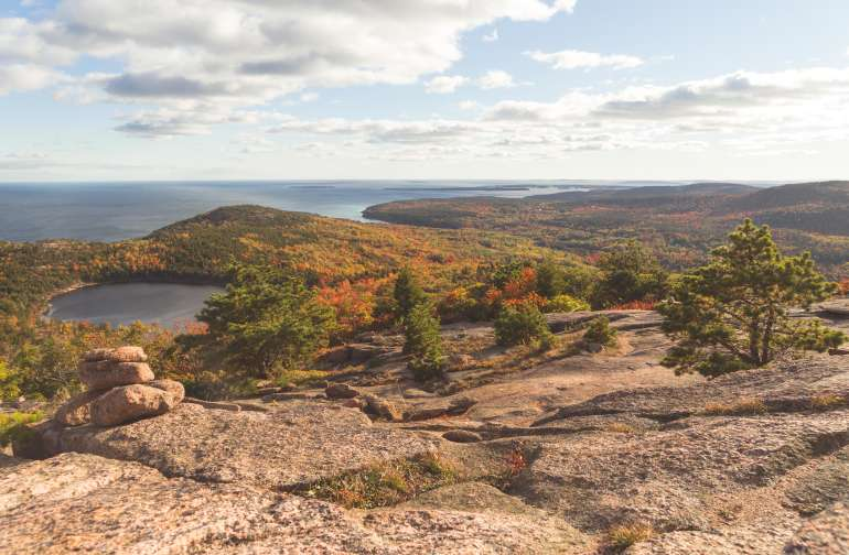 Hiking through Acadia, less than a 30-minute drive away!