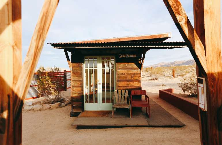 The Pensione site has a small cabin that is perfect for sleeping in on chillier windy nights.