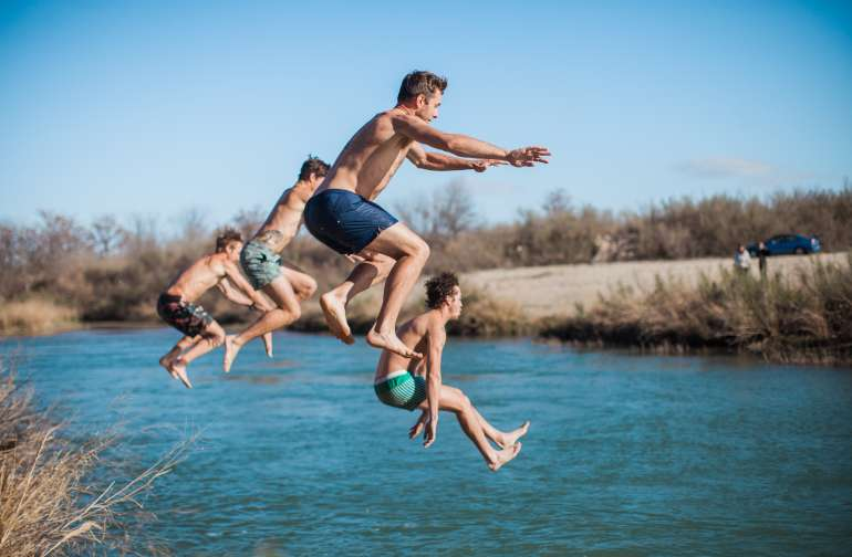 The gorgeous, green/blue water of the Llano River is perfect for a quick dip to cool off, or in February, a refreshing way to start the day!