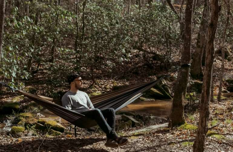 Trees line the edge of the creek, making for perfect hammock areas and shade for hikes.