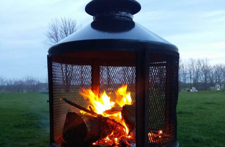 Chiminea on our back patio.  Available for your use.