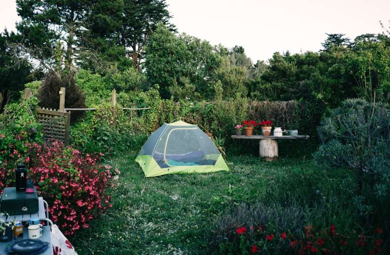 Dusk in the garden. This is the master-suite view