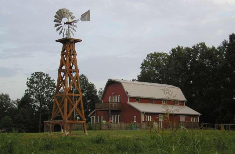 Barn and the windmill in August