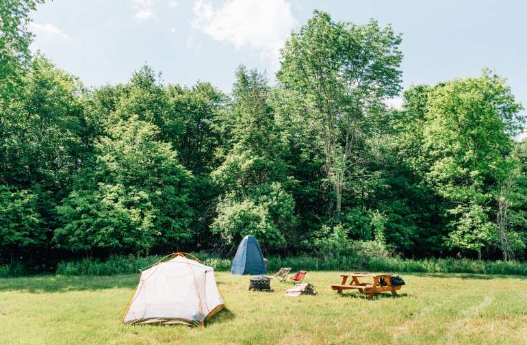 beautiful open field to pitch your tent