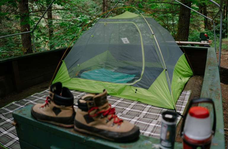 This is a 3 man tent and I have enough room for a decent sized porch. Photo by Nic Castellanos.