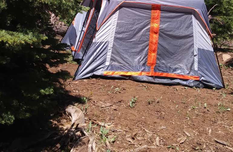 Pre set tent. Already set up ready to camp. Fits 10. Has light...