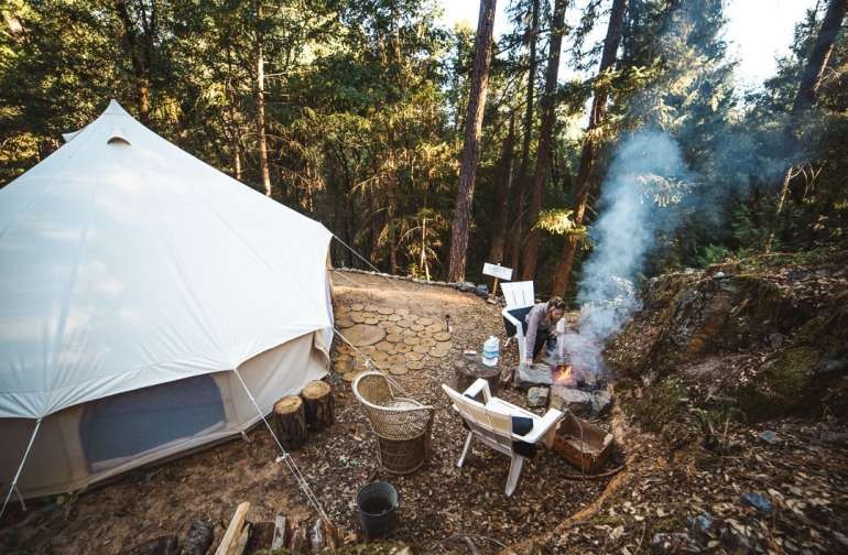 forest campfire lodging