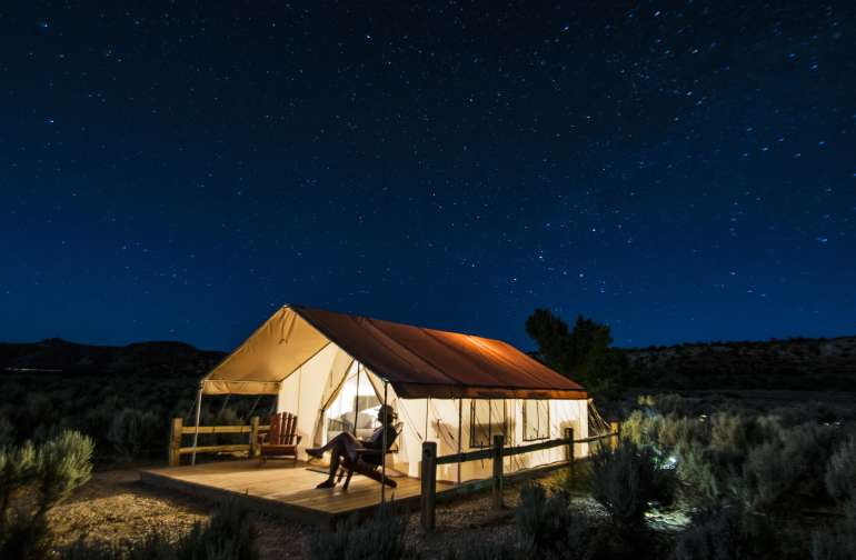 Sunsets precede star gazing at our latest tent. Named in honor of a famous character in Kanab's storied film history, the Josey Wales tent is closest to shared (aka bathrooms) facilities.