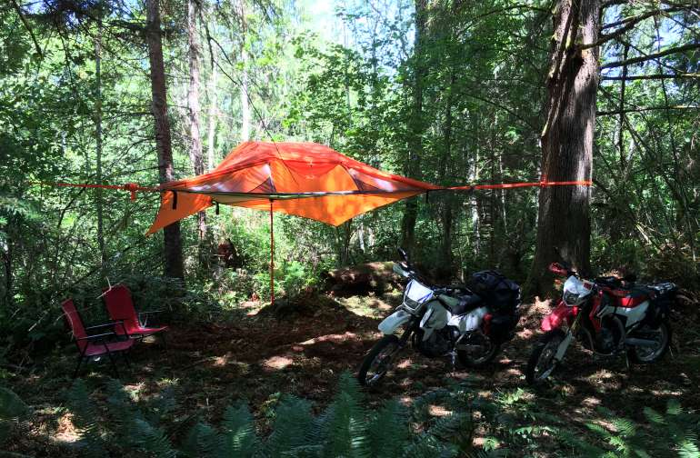 Dual sport campers with a stingray tree tent!