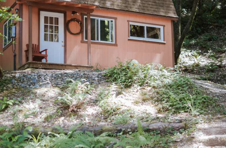 Natural stairs up to the Pumpkin Cottage