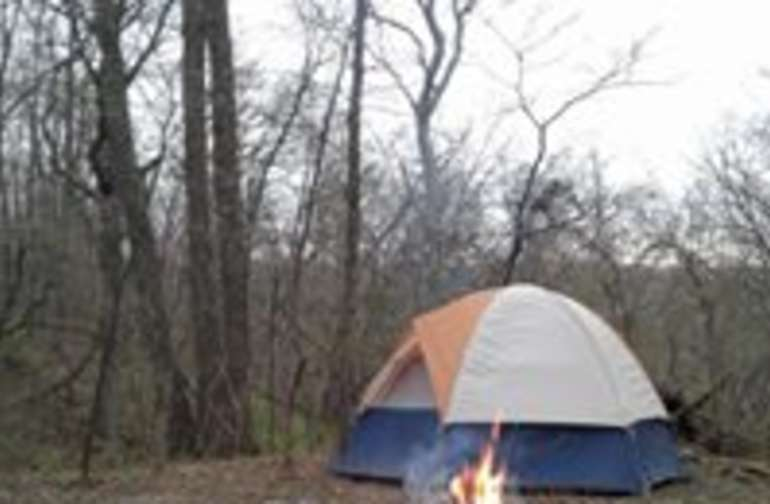 Camping in April, before everything leafs out