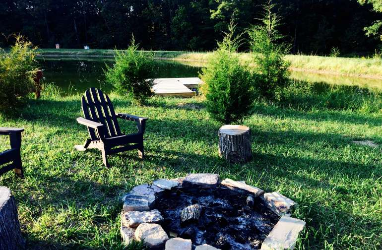 Fire ring in clearing by the pond