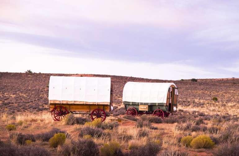 Wagons at sunset