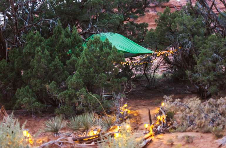 It's easy to find the Tentsile in the dark -- solar lights illuminate your way, and a string of cute little twinkly solar lights add the perfect cozy touch to your treehouse home for the night.
