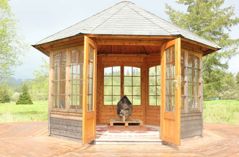 Gazebo with Elestial En-hydro Smokey Quartz Earth Keeper